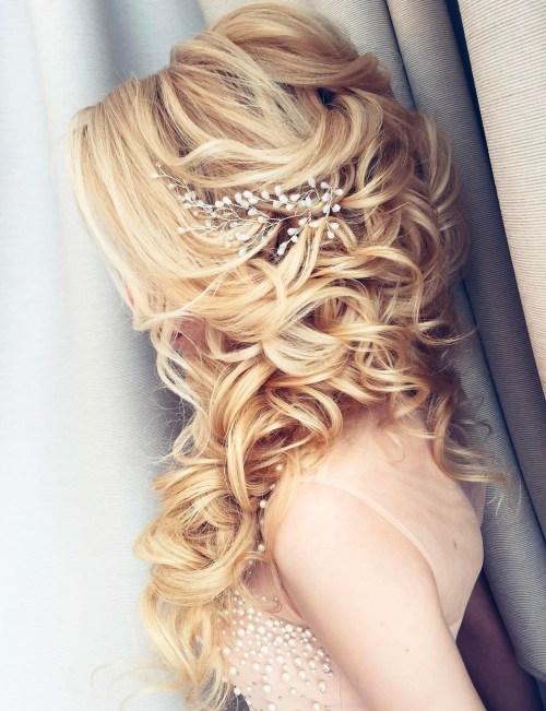 long curly wedding half updo