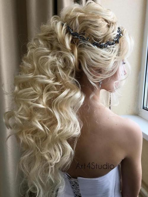 long curly wedding ponytail
