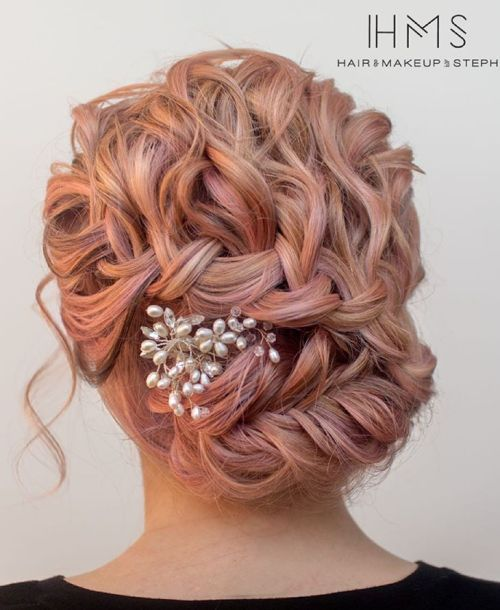 pastel pink braided curly updo