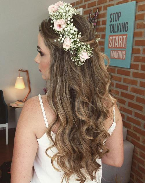 simple wedding downdo with a flower crown