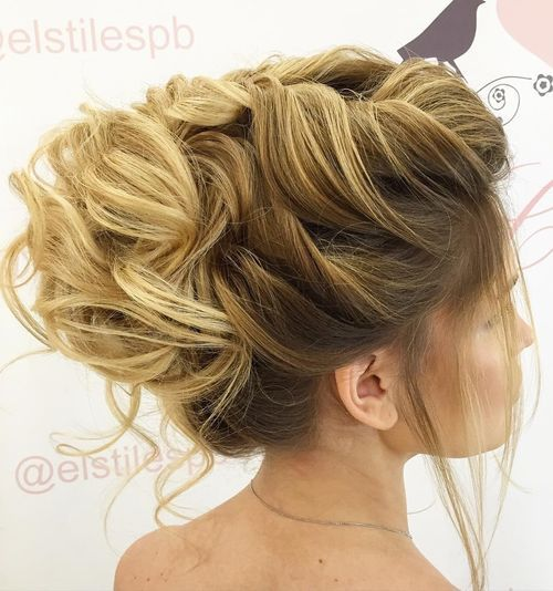 voluminous bridal updo for long hair