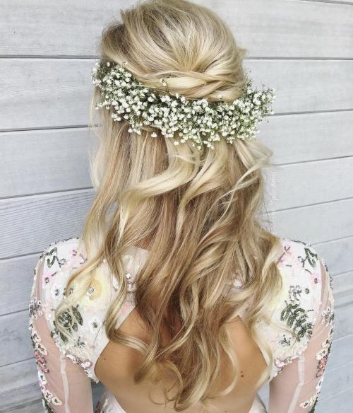 wavy boho half up hairstyle for wedding