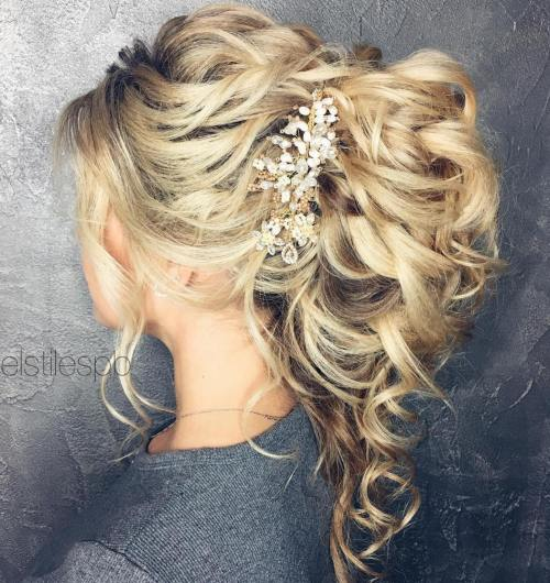 wedding curly ponytail updo