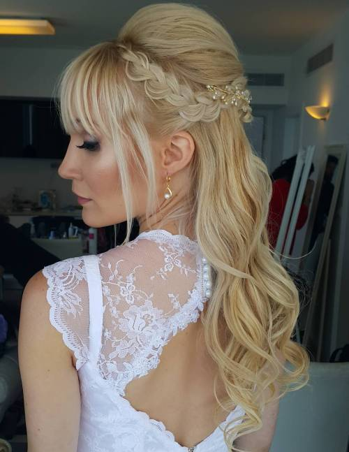 wedding half updo with braid and bouffant