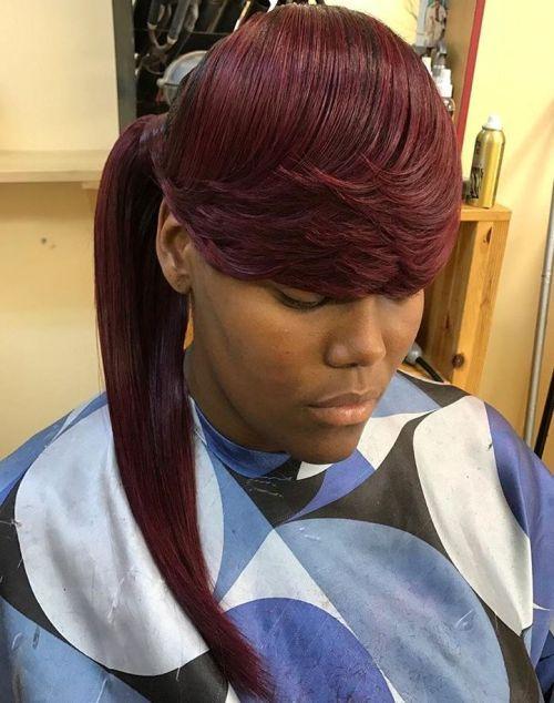 African American burgundy ponytail
