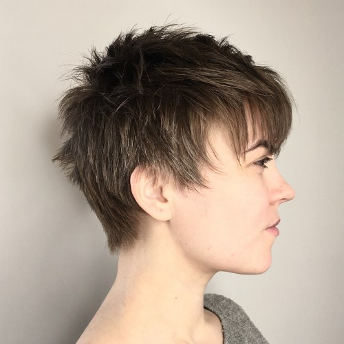 Ashy brown spiky pixie