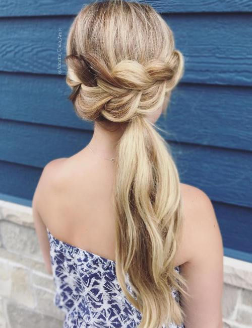 Big braid with a side low ponytail