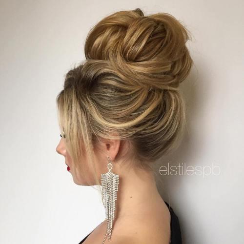 Big high bun for prom