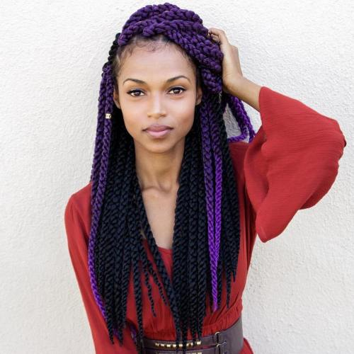 Black and purple yarn braids