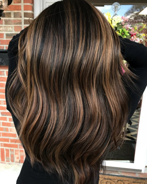 Black hair with bronze and chocolate highlights