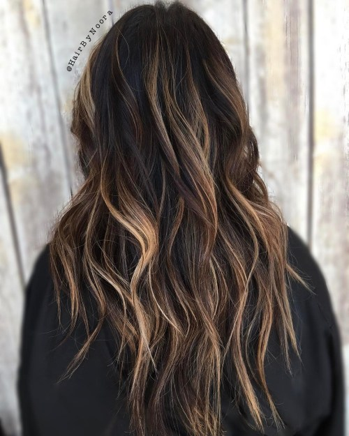 Black shag with bronde balayage long hair