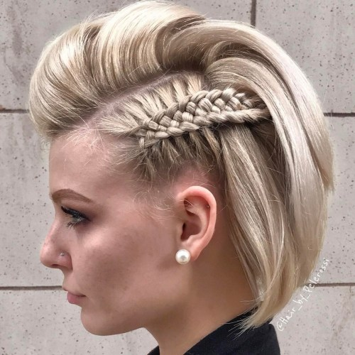 Bob hairstyle with pompadour and side braids