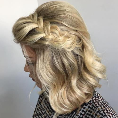 Bouffant hairstyle with braid for bob length