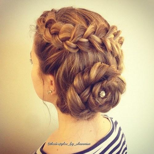 Braided florette updo for long hair
