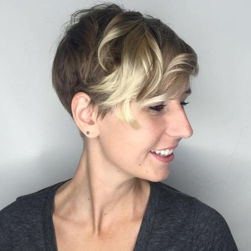 Brown pixie with highlights in the bangs