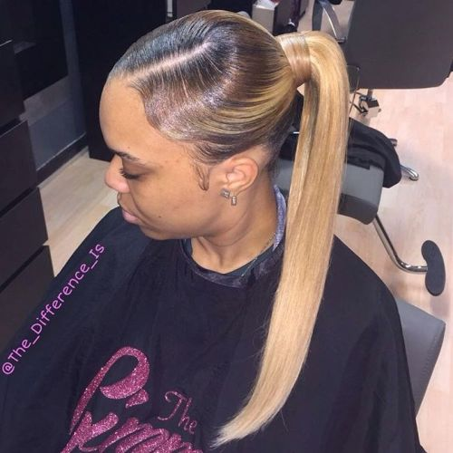 Brown to blonde sleek ombre ponytail