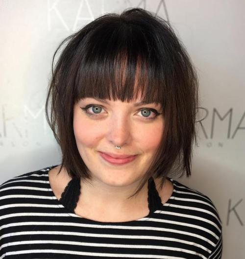 Chinlength bob with a fringe