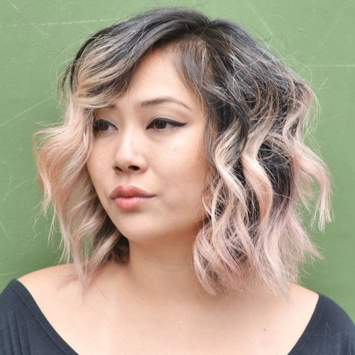 Choppy wavy side parted lob for coarse hair