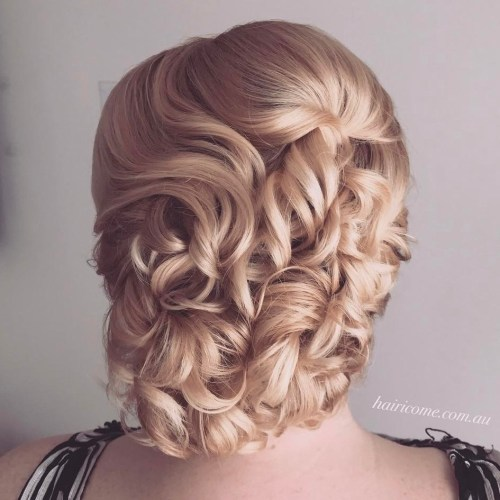 Curly blonde updo
