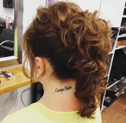Curly mohawk ponytail updo