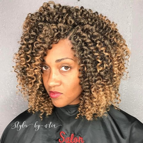 Curly sew in with balayage highlights