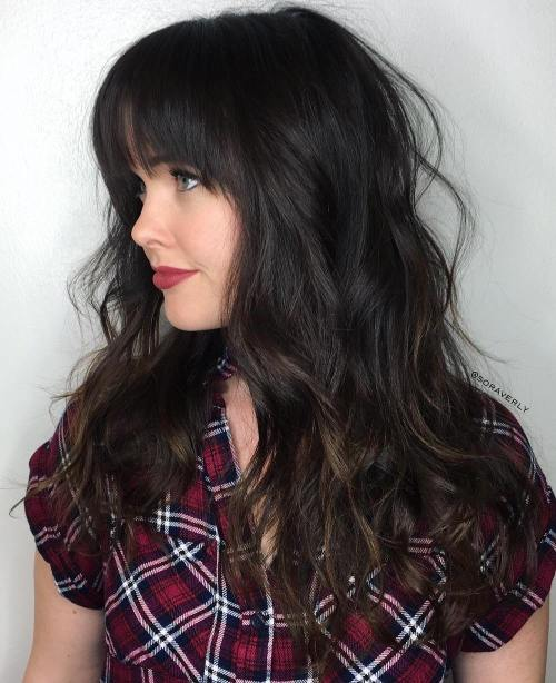 Dark Balayage Hairstyle with Bangs