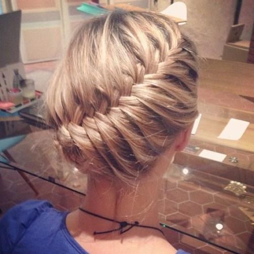 Diagonal braid updo