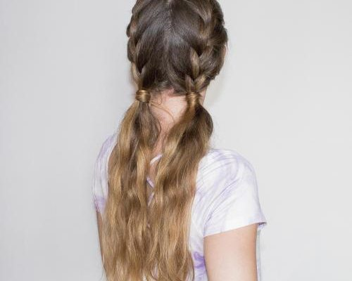 French braids into pigtails