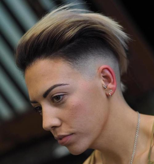 Half shaved short hairstyle for women