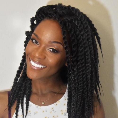 Lack midlength twist braids