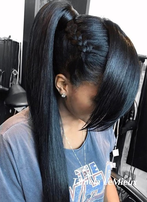 Long black ponytail with side braid