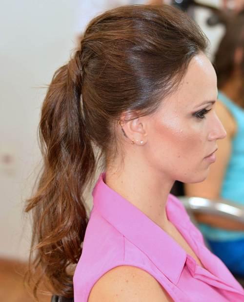 Long flat ponytail