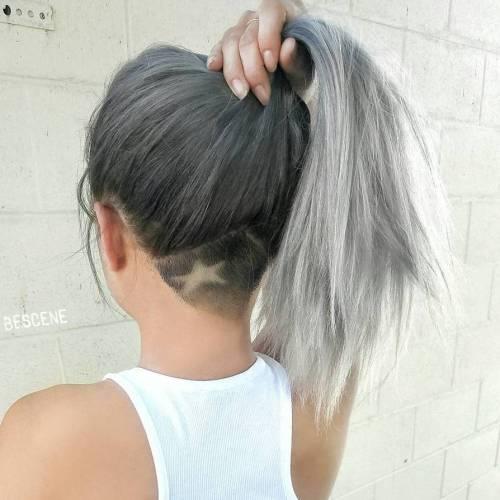 Long gray hair with nape undercut