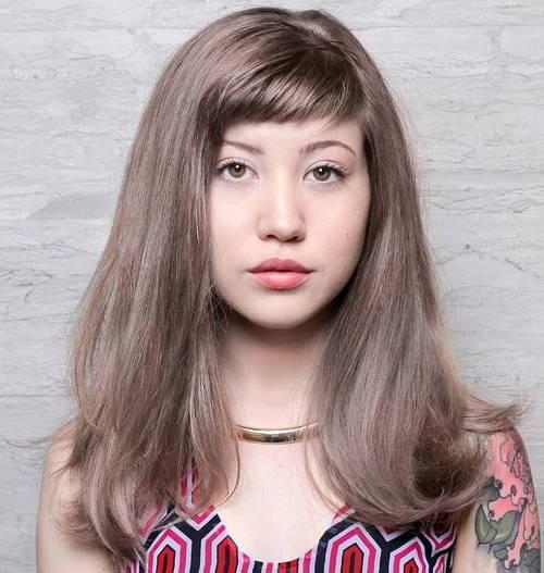 Long hair with short bangs