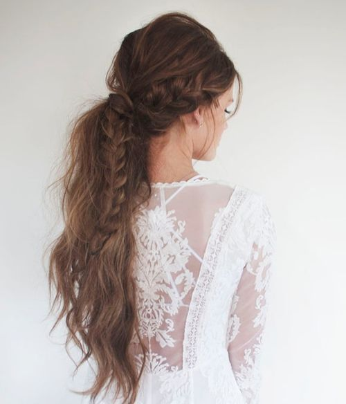Long messy pony with a side braid