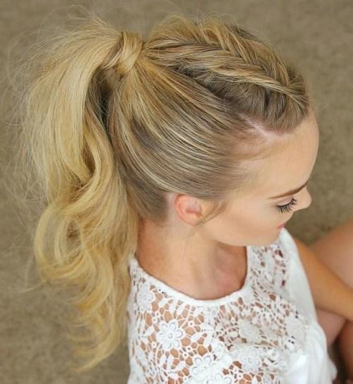 Long tousled braided ponytail