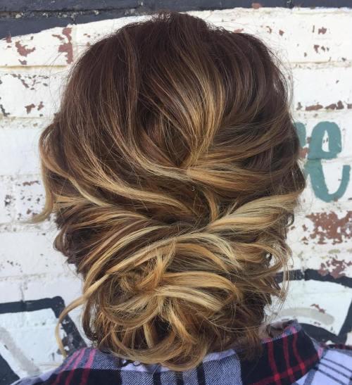 Loose bun updo for short hair