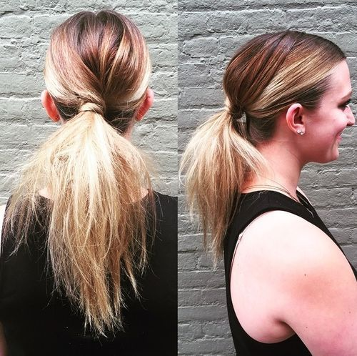 Low twisted pony for ombre hair