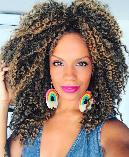 Medium curly crochet hairstyle