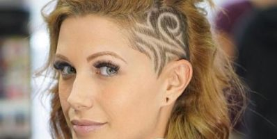 Medium hairstyle with shaved side designs