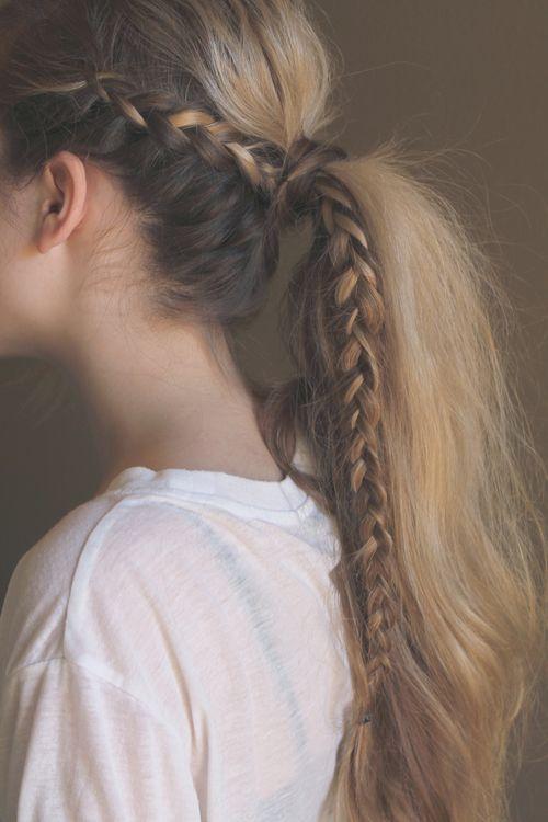 Messy side braided ponytail