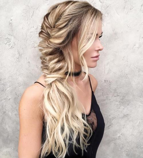 Messy side fishtail for long hair