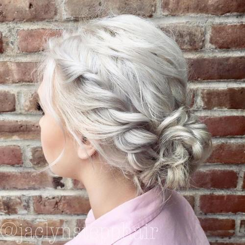 Messy twists and bun updo for bob