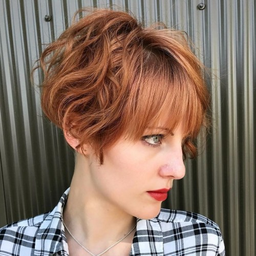 Messy wavy pixie bob with bangs