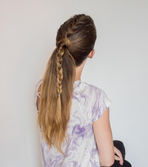 Mohawk french braid ponytail