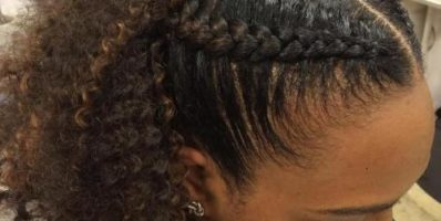 Natural ponytail with 2 braids