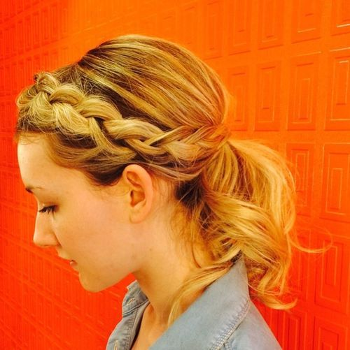 Pony with wrap around braid for short hair
