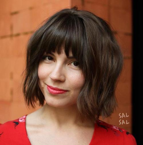 Short Wavy Hair with Bangs