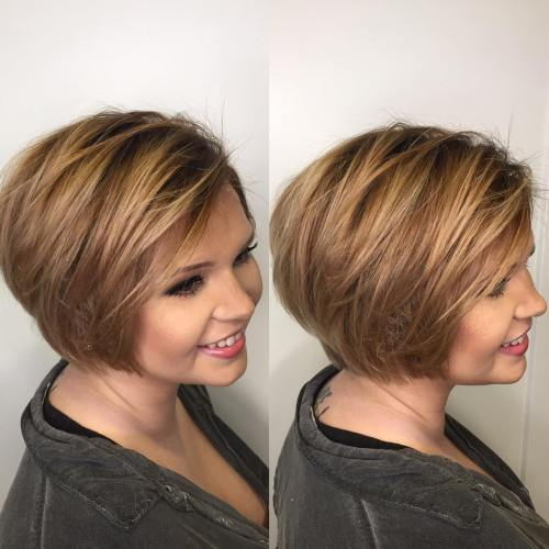 Sideparted textured bob for round face