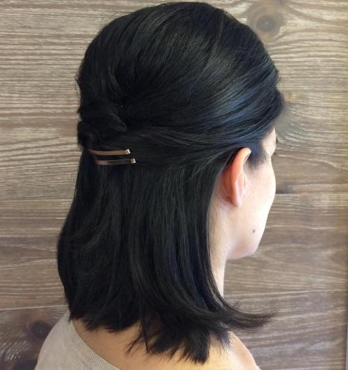 Simple half updo for medium hair